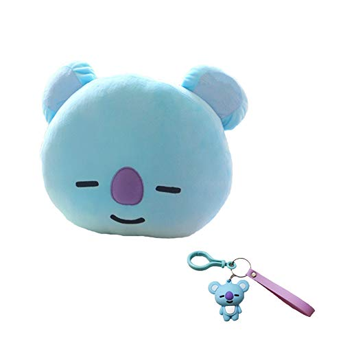 DIY BTS Bangtan Boys Plush Throw Pillows Cushion Doll(30x40cm with Cute Cartoon Key Chain (Blue-Koya) -