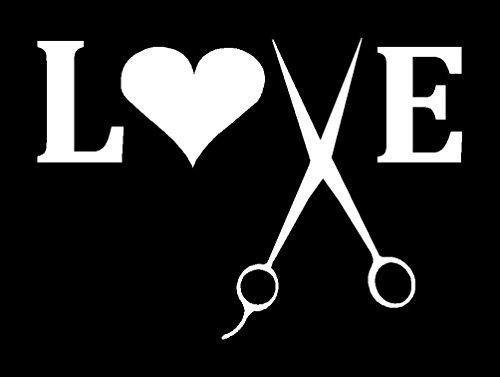 CCI143 - Hairdresser Cosmotology Love Scissors White 6 x 4.5 -