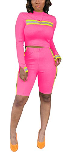 (Womens Two Piece Tracksuit Set - Reflective Stripes Patchwork Crop Top Shorts Sweatsuits Jumpsuits Outfits Small Pink)