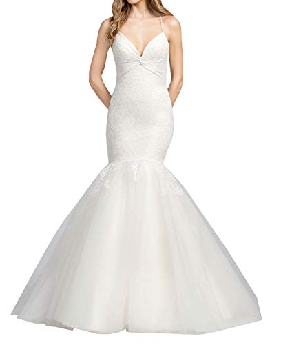 Gorgeous Spaghetti Straps Mermaid Wedding Dresses Lace Appliques Open Back Bridal ()