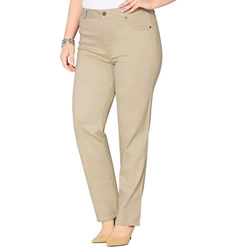 AVENUE Women's Butter Denim Straight Leg Jean (Khaki), 20 Khaki