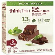 Think Thin Plant Based Chocolate Mint High Protein Bar, 5 count per pack -- 24 per case. by thinkThin