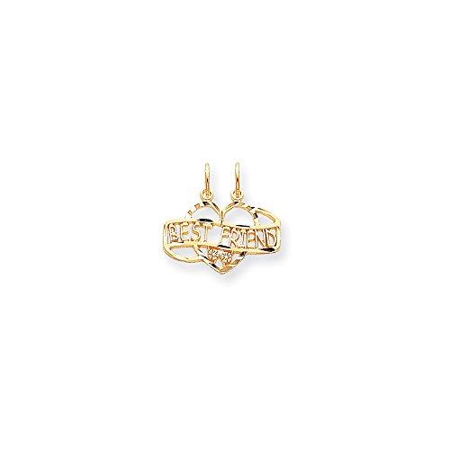 10K Gold BEST FRIEND BREAK APART Charm Pendant (0.79 in x 0.87 in)