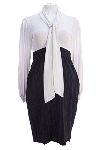 Olian Maternity Dresses - Olian Maternity Women's Tie Neck Colorblock Empire Waist Dress Small White