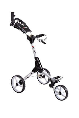 Cube CART 3 Wheel Push Pull Golf CART - Two Step Open/Close - Smallest Folding Lightweight Golf CART in The World - Choose Color! (White/White)