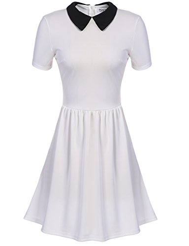 womens skater dress short sleeve collared dresses (M, (Collared Dress Costume)