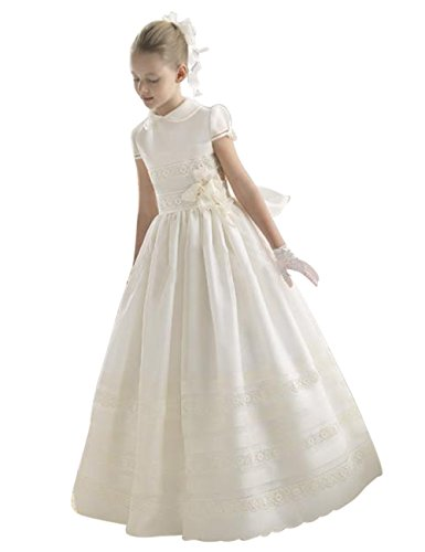 First Communion Dress - PinkMemory High-Neck First Communion Dress For Girls 2-14 White 7