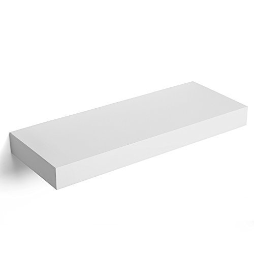 Floating Wall Shelf 15 inch, Easy Install for Decorative Display Corner Invisible Bracket Support, White ULWS14WT