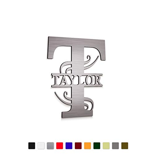 """JASS GRAPHIX 12"""" Personalized Aluminum Door Decoration Family Name Sign Last Name & Initial"""