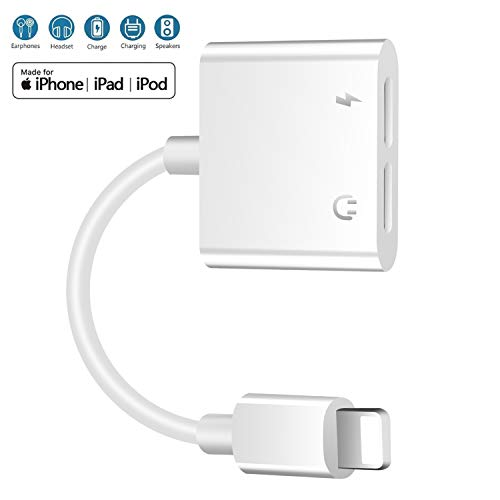 Headphone Adapter for Phone Splitter 2 in 1 Splitter Charger, Double Dongle Adapter Cable for Phone Xs Max/XR/X/8 Plus Headset Music&Car Charger&Remote&Call Support All iOS System (White)