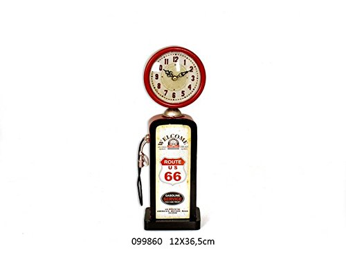 Clock VINTAGE DECO FUEL PUMP ROUTE 66 USA RED AND BLACK 99860