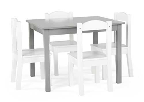 Tot Tutors TC770 Inspire Collection Kids Wood Table & 4 Chair Set, Grey/White by Tot Tutors