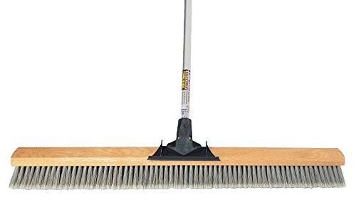 FlexSweep Unbreakable Commercial Push Broom (Contractors 36 Inch) Fine Gray Flagged - Debris Heavy Broom Push