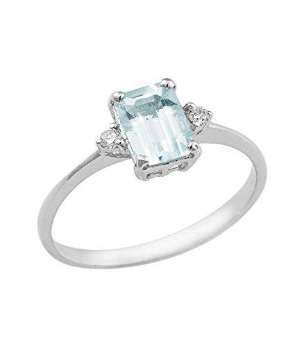 Anello in oro bianco 18k con Acquamarina e diamanti