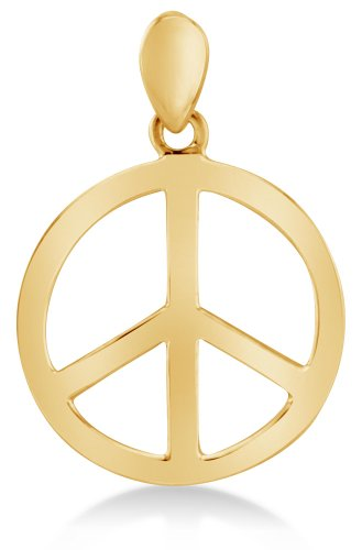 Solid 14K Yellow Gold Classic Peace Sign Ladies Pendant Charm (Height = 5/8