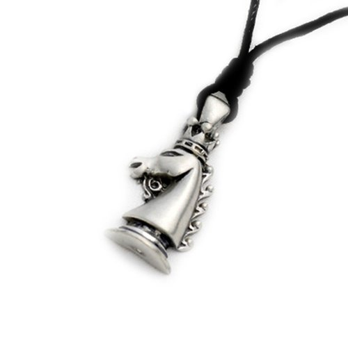 Horse Knight Chess Piece Silver Pewter Charm Necklace Pendant Jewelry