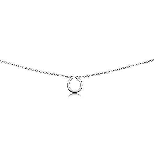 Horseshoe Lucky Silver Charm - GemStar USA Sterling Silver Polished Horseshoe Lucky Charm Dainty Choker Necklace