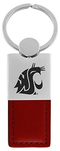 Washington State University-Leather and Metal Keychain-Burgundy