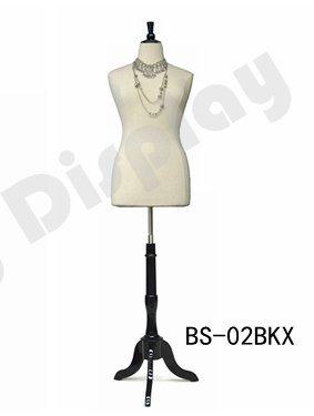 (JF-F14/16W+BS-02BKX) Size 14-16 White Female Dress Form Mannequin Plus  Size 42\