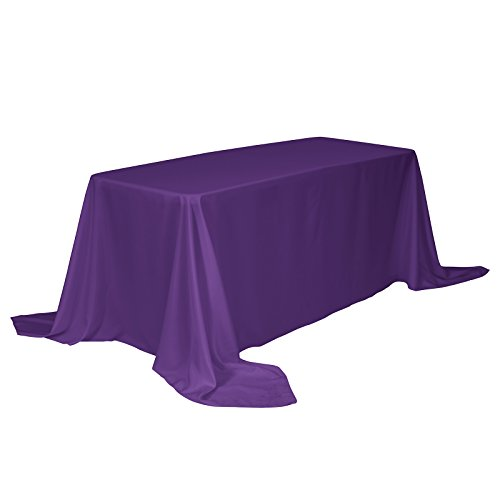 Remedios Rectangle Tablecloth Solid Color Polyester Table Cloth for Meeting Table - Wrinkle Free Dinner Tablecloth for Wedding Party Restaurant Banquet (Purple, 90x132) (Linen Purple Table)