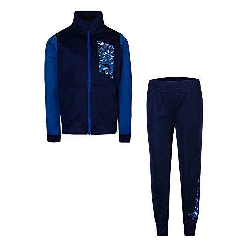 Boys Zip Front Track Jacket - Nike Boys 4-7 Colorblock Zip Track Jacket & Jogger Pants Set (Navy, 4)
