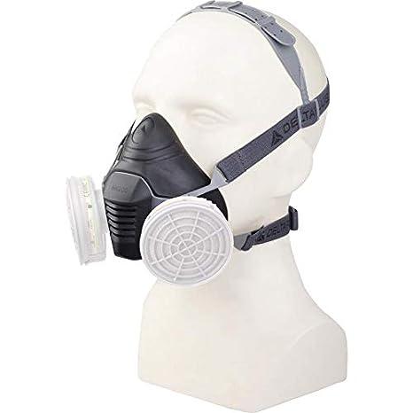 Delta plus - Semi-mascara de Termoplástico (TPE) Ref. M6200 JUPITER - Uso con 2 filtros (no incluidos)- Color: Negro / Gris