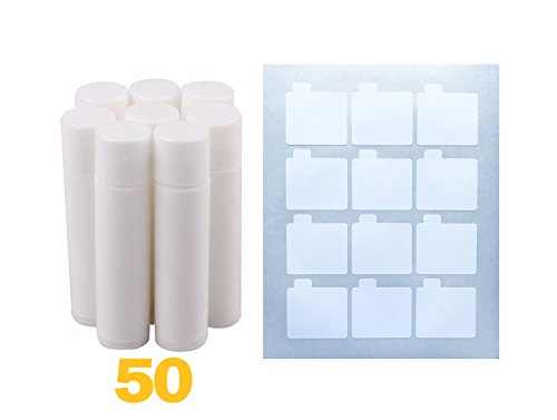 Lip Balm Stick Tubes, Cosmetic Containers Lip Balm - BPA Free Lip Balm Empty Tubes (50 white) & Premium Waterproof Lip Balm Tube DIY Sticker Labels 60 Labels (5 Sheets) for DIY Lip Balm Kit ()