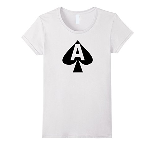 Casino Themed Costume - Womens Ace Of Spade T-Shirt XL White