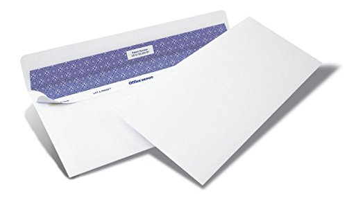 Office Depot Lift Press(TM) Premium Envelopes, 10 (4 1/8in. x 9 1/2in.), 100% Recycled, White, Pack of 250, 76148