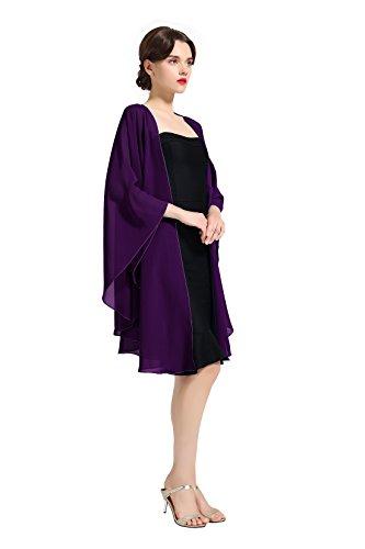(Chiffon Shawl Bridal Wedding Wrap Long Evening Scarves Scarf Purple)