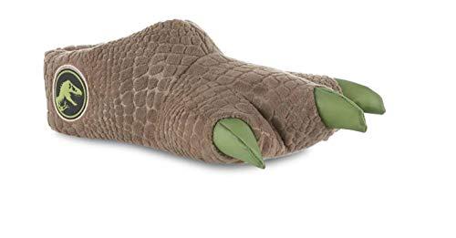 Jurassic World Dinosaur Feet Slippers Boys Plush Kids Slip On (Large Toddler Fits Shoe Size 9-10), Green