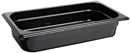 Rubbermaid Commercial Products FG216P00BLA 1/3 Size 2-5/8-Quart Hot Food Pan, - Storage Food Black Pan