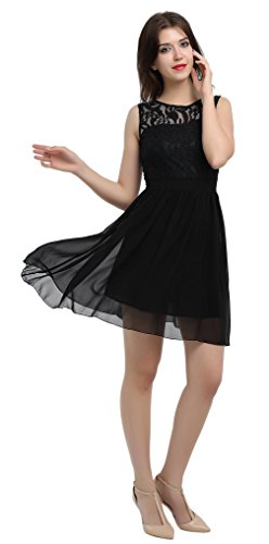 Prom Party Cocktail Chiffon Lace Sleeveless Dress Xuerry