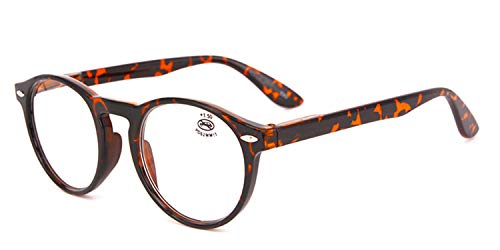 Reading Glasses For Unisex Black Round Optical Frame Readers With Pouch Eyeglasses With Case C2 Demi +100