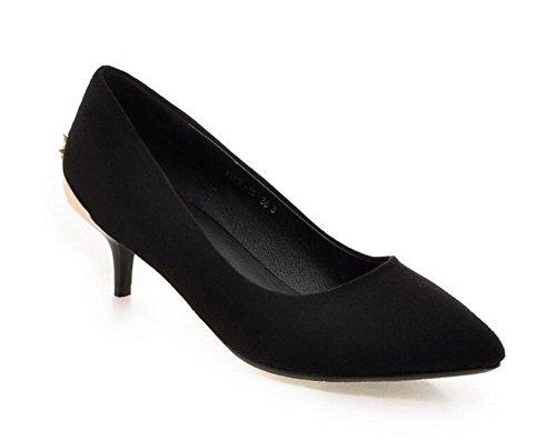metallo scarpe di peach 39 37 con metà punta bocca superficiale diamanti solido red BLACK Scarpette tacco sottile punta colore scarpe a perline XIE xq6IOI