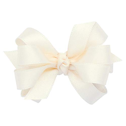 Wee Ones Girls' Classic French Satin Hair Bow on a WeeStay Clip w/Knot Wrap Center - Multipe Bow Sizes for All -
