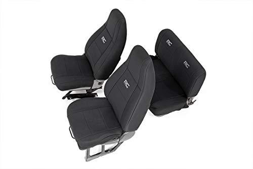 (Rough Country 91009 Jeep Neoprene Seat Cover Set Black 91-95 Wrangler)
