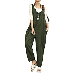 Summer Cotton Linen Jumpsuits Women Sexy Vintage Rompers Sleeveless Backless Playsuits Army Green 4xl