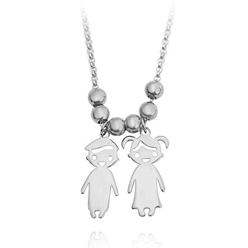 OBTIAN 925 Sterling Silver Engraved Personalized Children Charms Mothers Necklace Custom Made Any Boys and Girls Name Pendant Necklace Gift as a Present(Two Children)