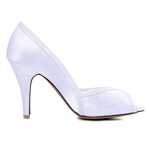 Pizzo Sposa Satin Spillo Bianco A Donna da Toe Elegantpark Pompe Tacco Peep Scarpe x6Sw8qwf