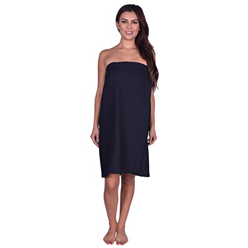 - La Calla Bath Wraps For Women Waffle Weave - 100% Turkish Cotton - Spa Shower Women Wraps With Adjustable Closure (Black)