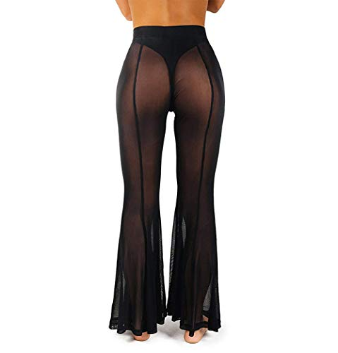 RUEWEY Women See Throug Mesh Flare Cover up Pants Swimsuit Bikini Bottom Cover up Elastic Waist Wide Leg Palazzo Trousers (L, Black-Flare)
