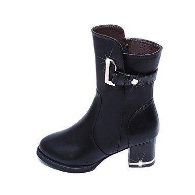 Vestido De 2'5 4'5 Cms Invierno Semicuero Casual Black amp;xuezi Botas Mujer Nieve Negro Moda Otoño Gll Amarillo w4tFn