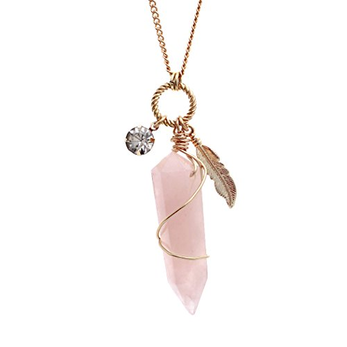 Rosemarie Collections Women's Quartz Stone Pendant Necklace (Rose) (Rose Crystal Stone Pink Genuine)