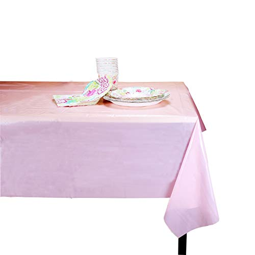 (sinyin 6 Pack Plastic Tablecloth 108 Inch x 54 Inch Rectangle Table Cover Premium Disposable Table Cloths for Wedding Birthday Christmas Anniversary Party Decoration)