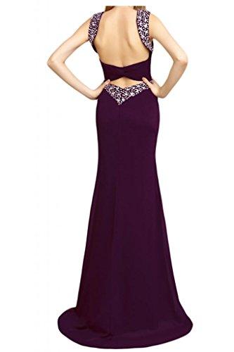 Toscana novia encantador rueckenfrei vestidos de noche largos de la gasa de dama de honor vestido de fiesta de la bola Traube