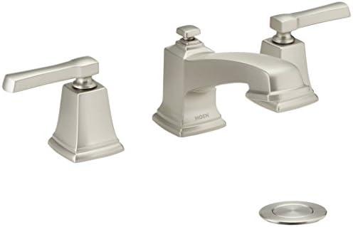 Moen WS84820SRN Boardwalk Two-Handle Low Arc Bathroom Faucet, Spot Resist Brushed Nickel
