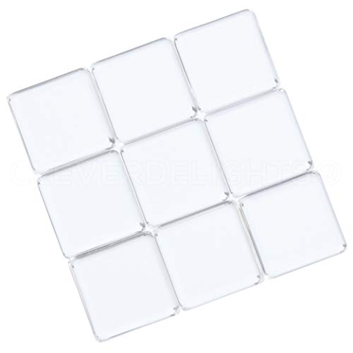 (CleverDelights 50 Square Glass Tiles - 15mm (19/32