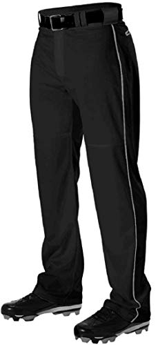 Alleson Adult Pro Warp-Knit Baseball Pants - Full Relaxed Fit with Piping - Black/White - Large