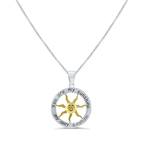 Sterling Silver Two Tone You are my Sunshine my Only Sunshine Necklace 18